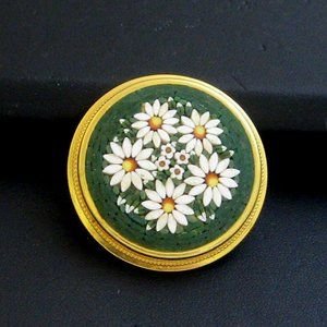 Vintage Mosaic Pin Daisies Made in Italy